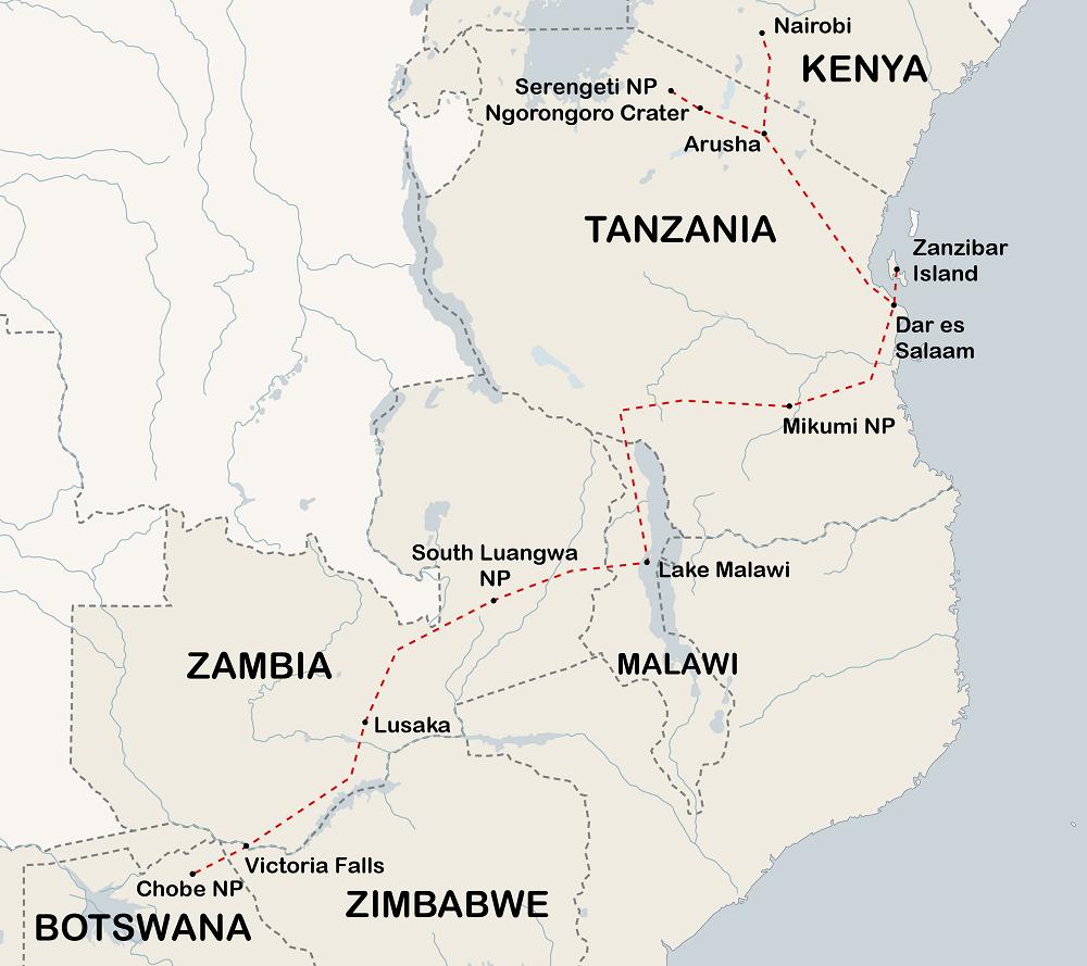 21 Day Victoria Falls to Nairobi Tour