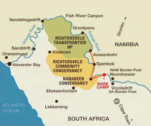4 Day Orange River Rafting Map