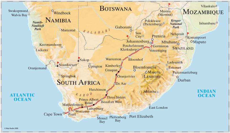 Cape Town to Johanesburg and Pretoria Train Journey in South AfricaMap