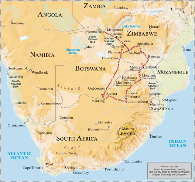 Pretoria, Johannesburg to Victoria Falls in Zimbabwe Train Journey Map