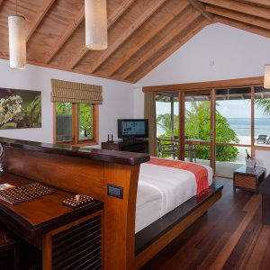 O Beach Villas (66sqm) These spacious beach villas are located in the O Resort and offer access to all the O Resort facilities which is only available for guests of 12 years old and above.The wooden rooms feature a partially open-air bathroom with walk-in shower, double sinks, decorative wrought iron furniture, stocked minibar, stocked wine refrigerator, complimentary once daily restocking of coffee/tea, color cable TV, high speed broad band Internet connection.